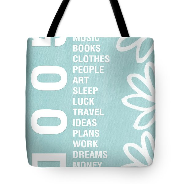 Good Things Blue Tote Bag by Linda Woods