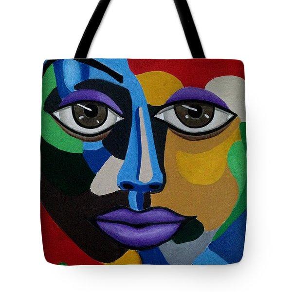 Colorful Illusion Abstract Face Art Painting, Big Brown Eye Art, Optical Artwork Tote Bag