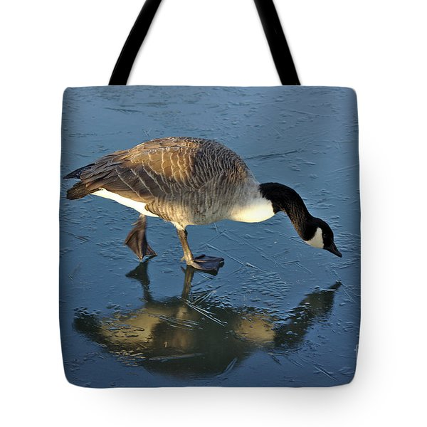 Goose On Ice Tote Bag