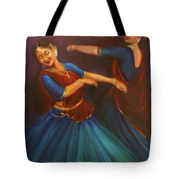 Gopis Dancing To The Flute Of Krishna Tote Bag