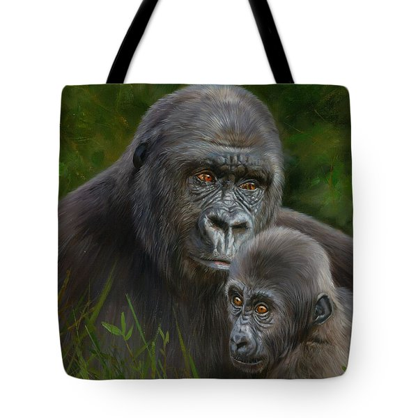 Gorilla And Baby Tote Bag by David Stribbling