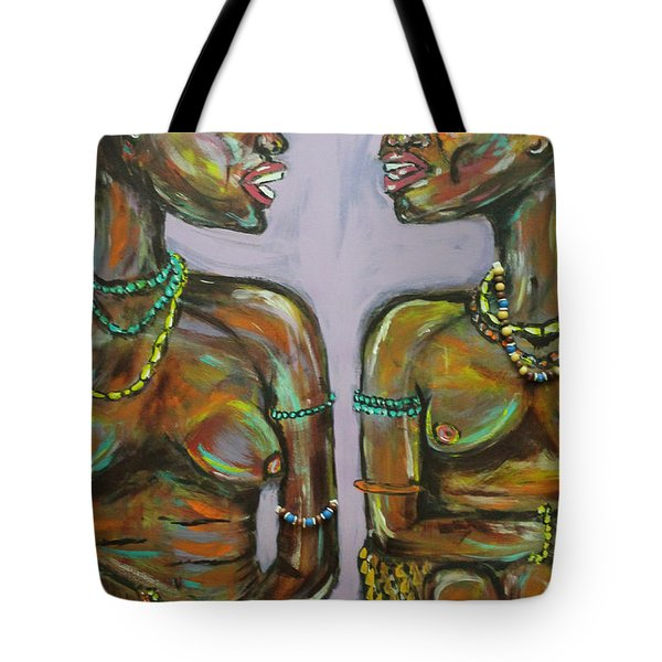 Tote Bag featuring the painting Gossip by Lucy Matta