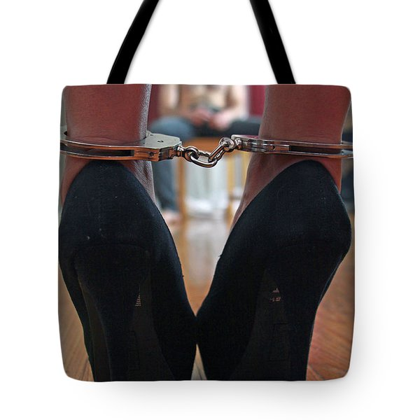 Tote Bag featuring the pyrography Got Cuffs by Shoal Hollingsworth
