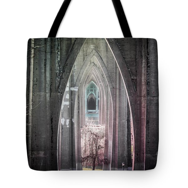 Gothic Arches Hands Folded In Prayer Tote Bag by Patricia Babbitt