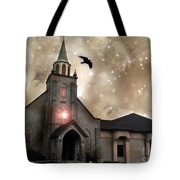Gothic Surreal Haunted Church And Steeple With Crows And Ravens Flying  Tote Bag by Kathy Fornal