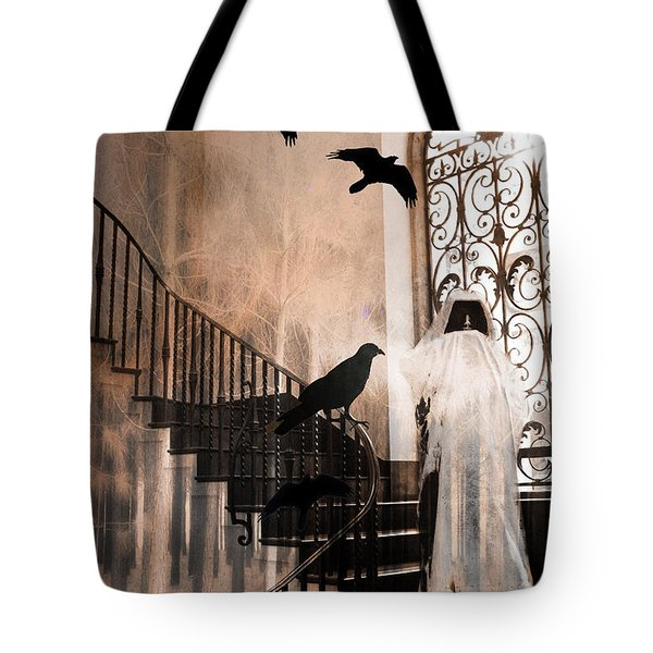 Gothic Grim Reaper With Ravens Crows - Spooky Haunting Surreal Gothic Art Tote Bag