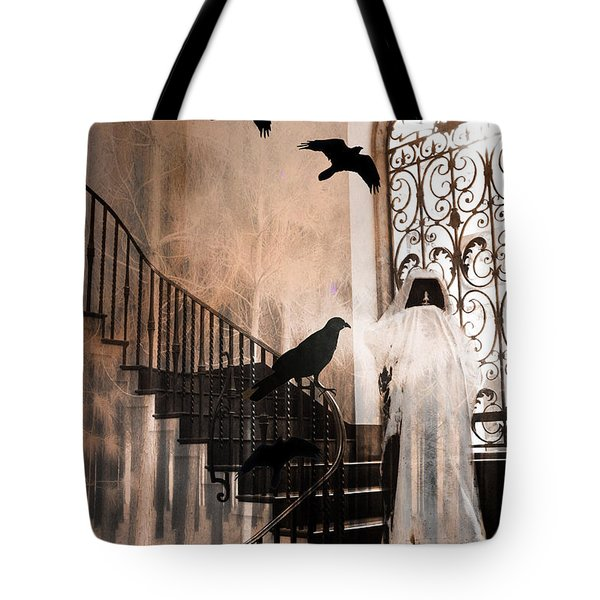 Gothic Grim Reaper With Ravens Crows - Spooky Haunting Surreal Gothic Art Tote Bag by Kathy Fornal