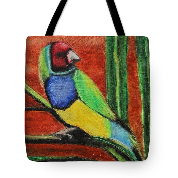 Tote Bag featuring the painting Gouldian Finch by Jeanne Fischer