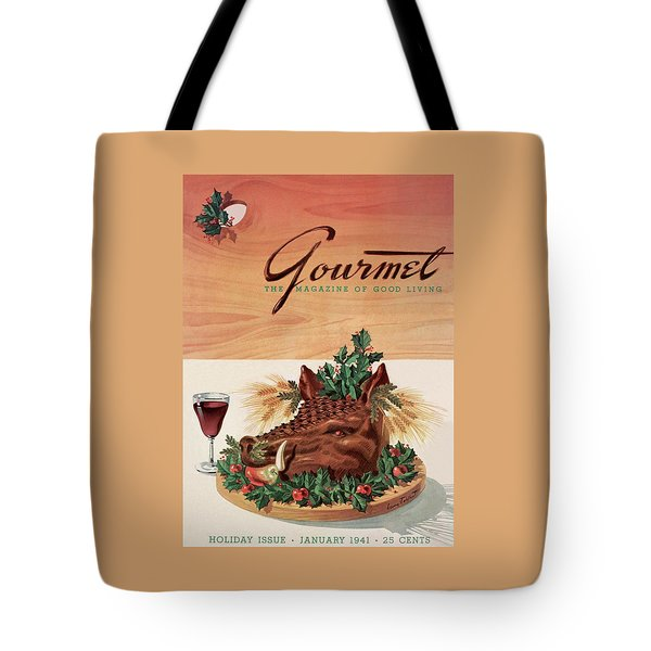 Gourmet Cover Featuring A Boar's Head Tote Bag