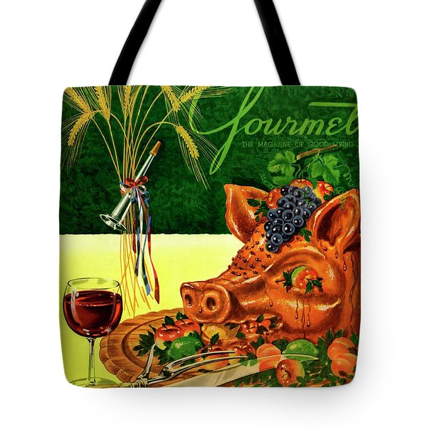Gourmet Cover Featuring A Pig's Head On A Platter Tote Bag