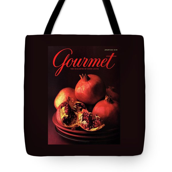 Gourmet Cover Featuring A Plate Of Pomegranates Tote Bag