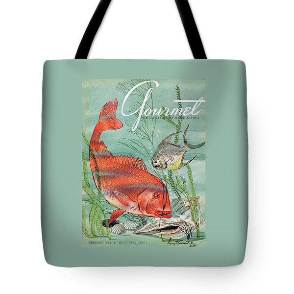 Gourmet Cover Featuring A Snapper And Pompano Tote Bag by Henry Stahlhut
