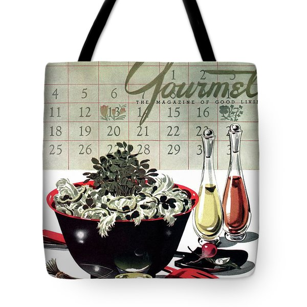 Gourmet Cover Illustration Of A Bowl Of Salad Tote Bag