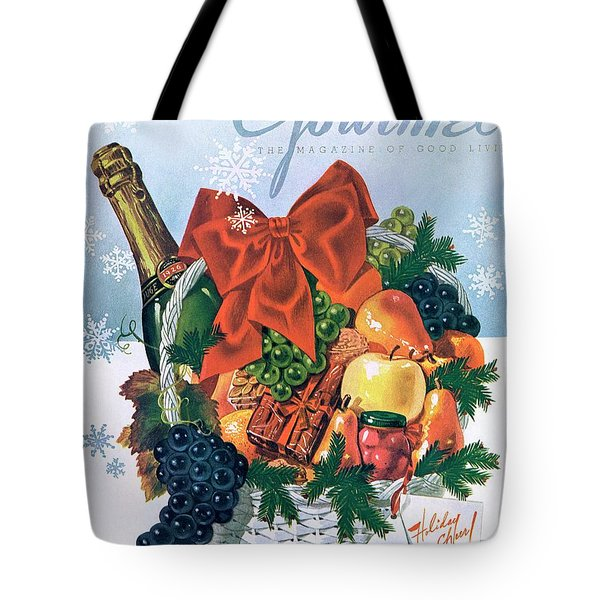 Gourmet Cover Illustration Of Holiday Fruit Basket Tote Bag