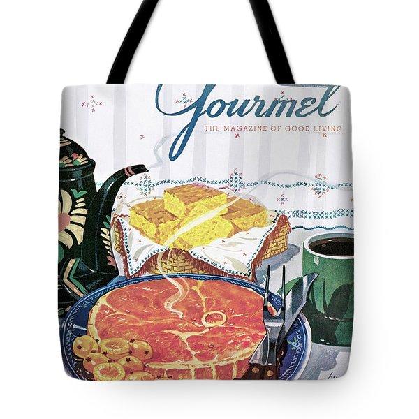Gourmet Cover Of Ham And Cornbread Tote Bag