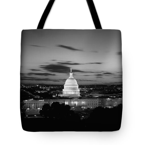Government Building Lit Up At Night, Us Tote Bag