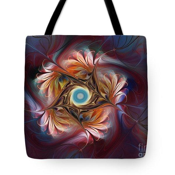 Grace And Elegance-floral Fractal Design Tote Bag by Karin Kuhlmann