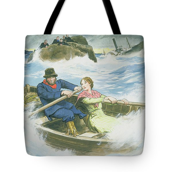 Grace Darling And Her Father Rescuing Tote Bag