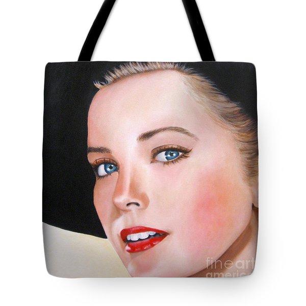 Grace Kelly In A Black Hat Tote Bag by Venus