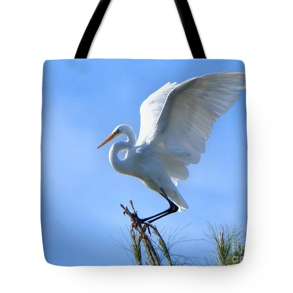 Tote Bag featuring the photograph Graceful Landing by Deb Halloran