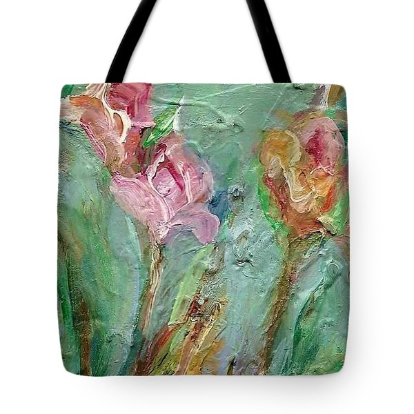 Tote Bag featuring the painting Grace's Garden by Mary Wolf
