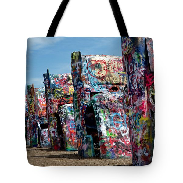 Graffiti At The Cadillac Ranch Amarillo Texas Tote Bag