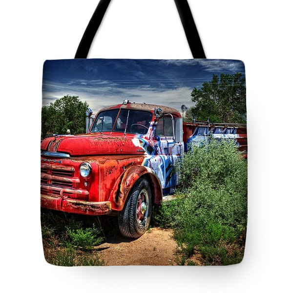 Tote Bag featuring the photograph Grafitti Fire Truck by Ken Smith