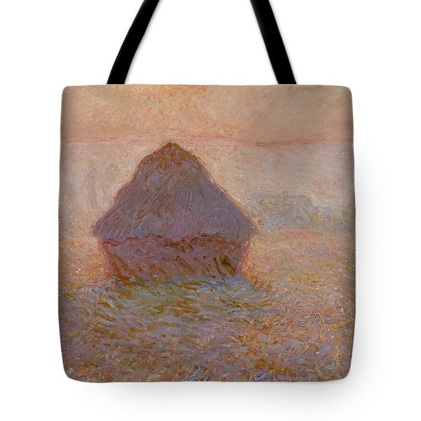 Grainstack  Sun In The Mist Tote Bag by Claude Monet