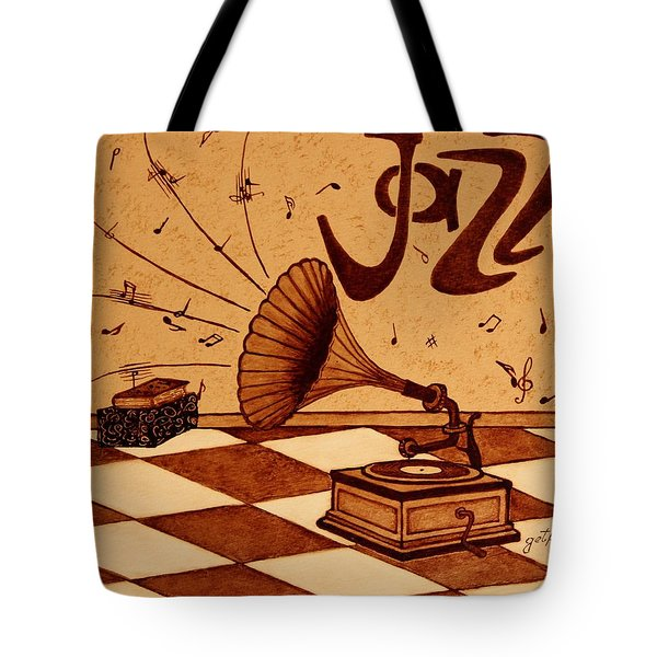 Gramophone Playing Jazz Music Painting With Coffee Tote Bag by Georgeta  Blanaru