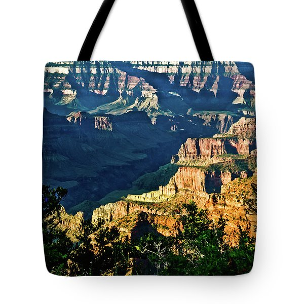 Tote Bag featuring the photograph Grand Canyon  Golden Hour On Angel Point by Bob and Nadine Johnston