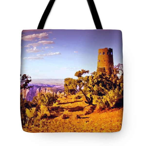 Tote Bag featuring the painting Grand Canyon National Park Golden Hour Watchtower by Bob and Nadine Johnston