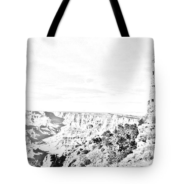 Grand Canyon National Park Mary Colter Designed Desert View Watchtower Black And White Line Art Tote Bag by Shawn O'Brien