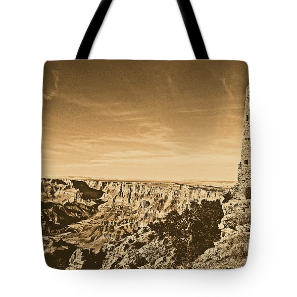 Grand Canyon National Park Mary Colter Designed Desert View Watchtower Rustic Tote Bag by Shawn O'Brien