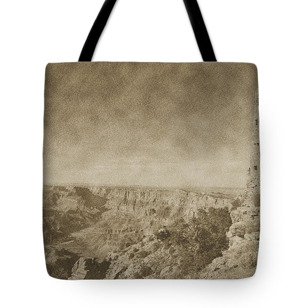 Grand Canyon National Park Mary Colter Designed Desert View Watchtower Vintage Tote Bag by Shawn O'Brien