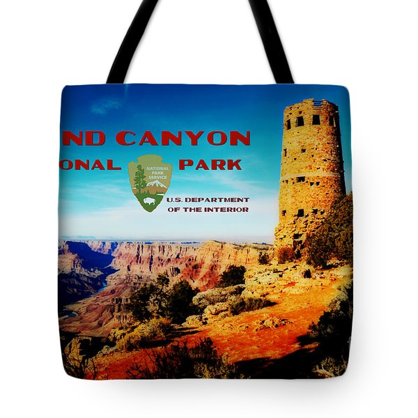 Grand Canyon National Park Poster Desert View Watchtower Retro Future Tote Bag by Shawn O'Brien