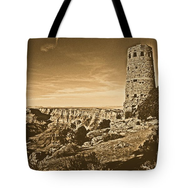Grand Canyon National Park South Rim Mary Colter Designed Desert View Watchtower Rustic Tote Bag by Shawn O'Brien