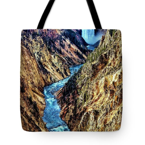 Tote Bag featuring the photograph Grand Canyon Of The Yellowstone by Benjamin Yeager