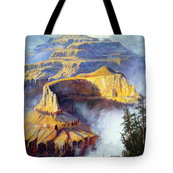 Tote Bag featuring the painting Grand Canyon View by Lee Piper