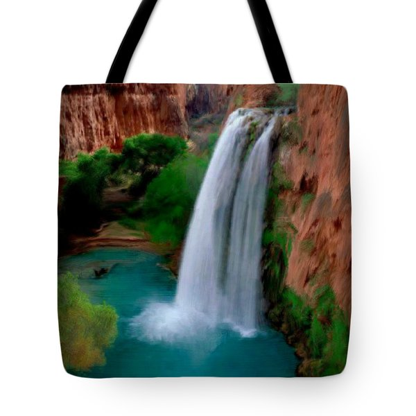 Tote Bag featuring the painting Grand Canyon Waterfalls by Bruce Nutting