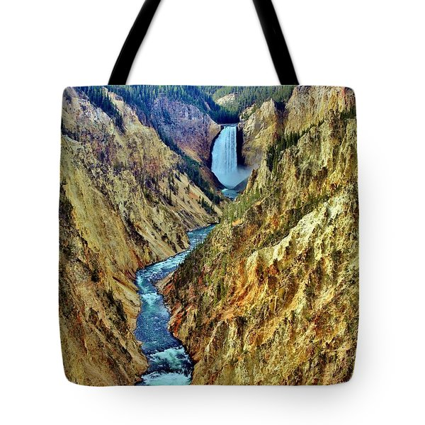 Tote Bag featuring the photograph Grand Cayon Of The Yellowstone River by Benjamin Yeager