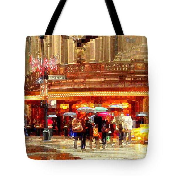 Grand Central Station In The Rain - New York Tote Bag by Miriam Danar