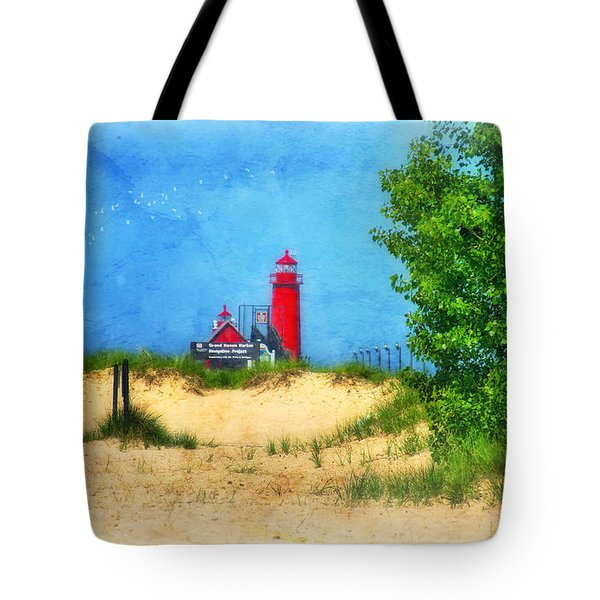 Grand Haven Lighthouse Tote Bag by Joan Bertucci