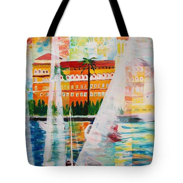 Grand Hotel  In Gardone Riviera In Sunlight Tote Bag by M Bleichner