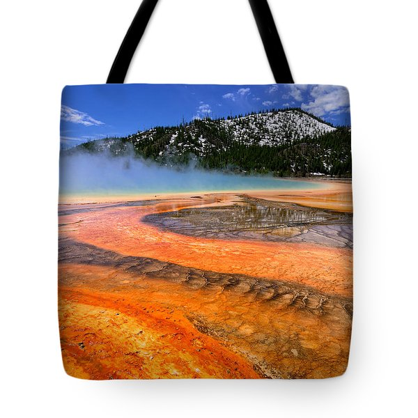 Grand Prismatic Spring Boardwalk View Tote Bag