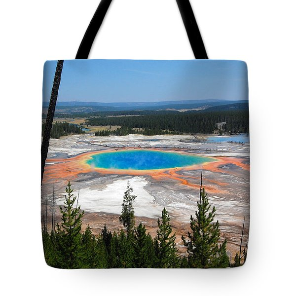 Grand Prismatic Spring From Hillside Tote Bag by Debra Thompson
