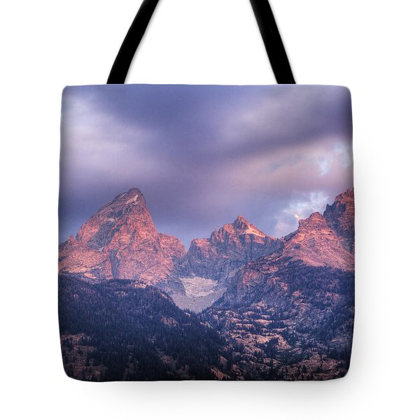 Tote Bag featuring the photograph Grand Teton In Morning Clouds by Alan Vance Ley