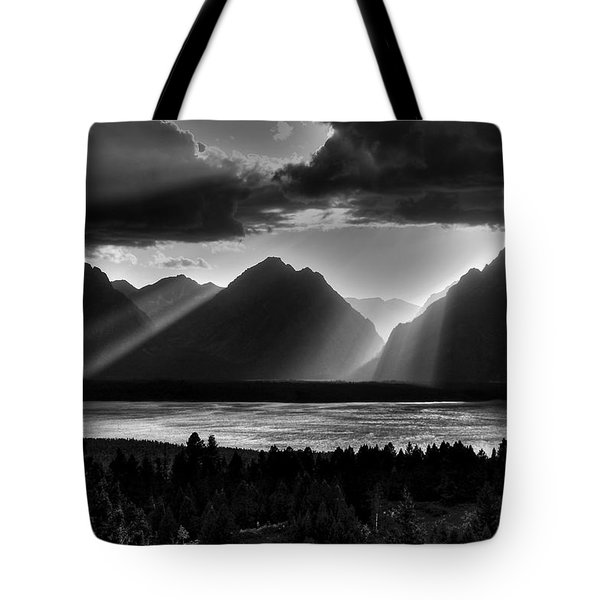 Grand Teton Light Beams Tote Bag by Aidan Moran