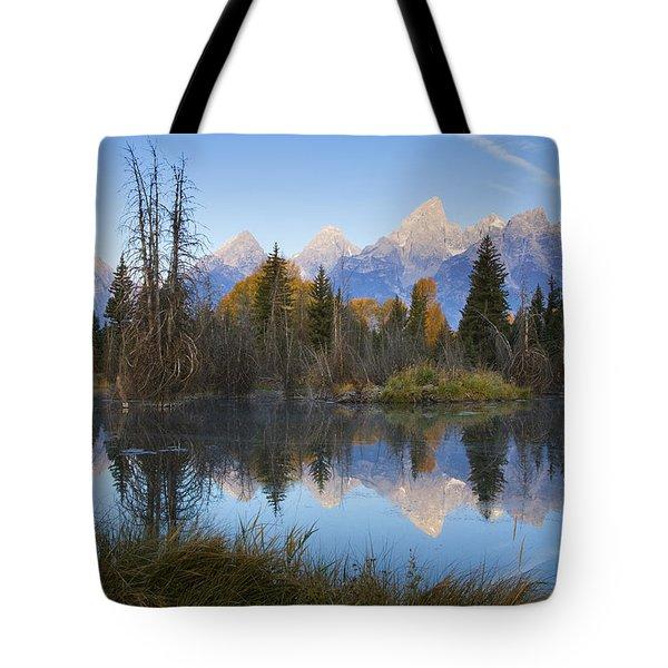 Tote Bag featuring the photograph Grand Teton Morning Reflection by Sonya Lang