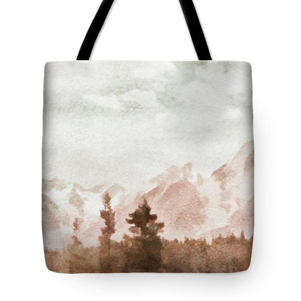 Tote Bag featuring the painting Grand Teton Mountains by Greg Collins