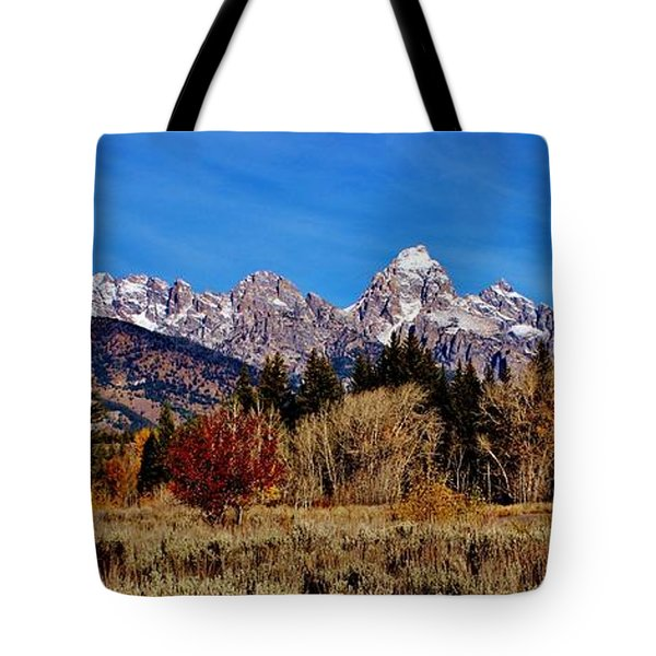 Tote Bag featuring the photograph Grand Teton Panorama by Benjamin Yeager